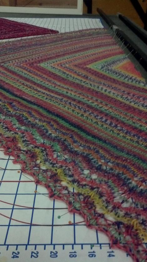 Jan13 blocking shawl  sox yarn multi
