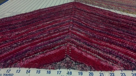 Jan13 blocking shawl  sox yarn pinks