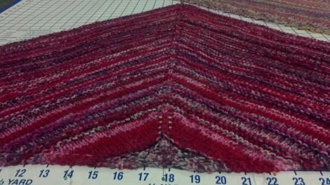 Jan13 blocking shawl  sox yarn pinks